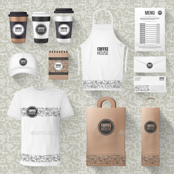 Vector Cafe Merchandise or Coffee Items Mockups - Food Objects