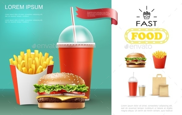 Realistic Fast Food Template - Food Objects