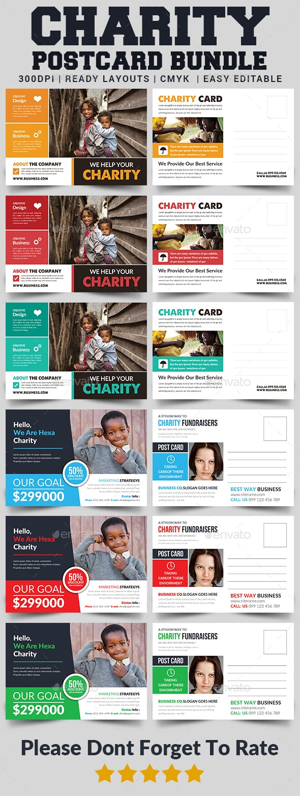 Charity Fundraisers Postcard Bundle - Cards & Invites Print Templates
