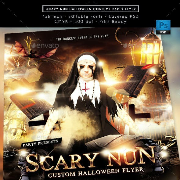 Scary Nun Halloween Costume Party Event Flyer