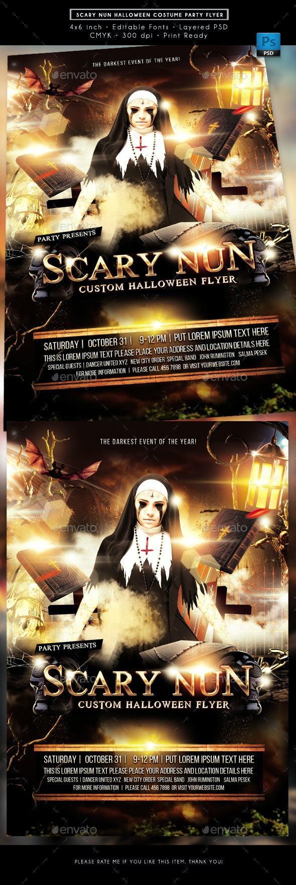 Scary Nun Halloween Costume Party Event Flyer - Holidays Events