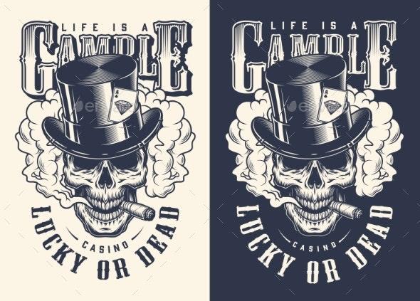 Skull Casino Concept T-shirt Print - Miscellaneous Vectors