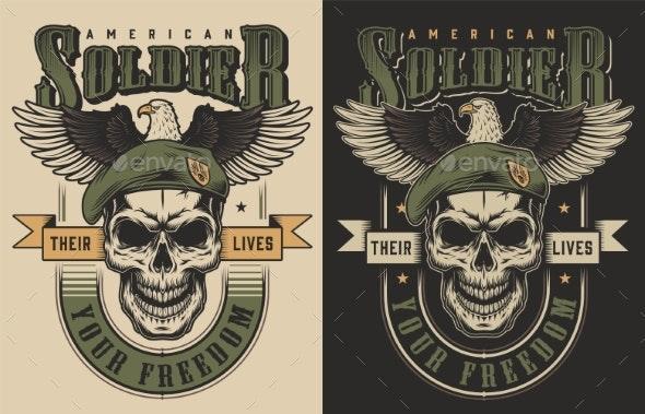 Skull T-Shirt Print Concept - Decorative Symbols Decorative