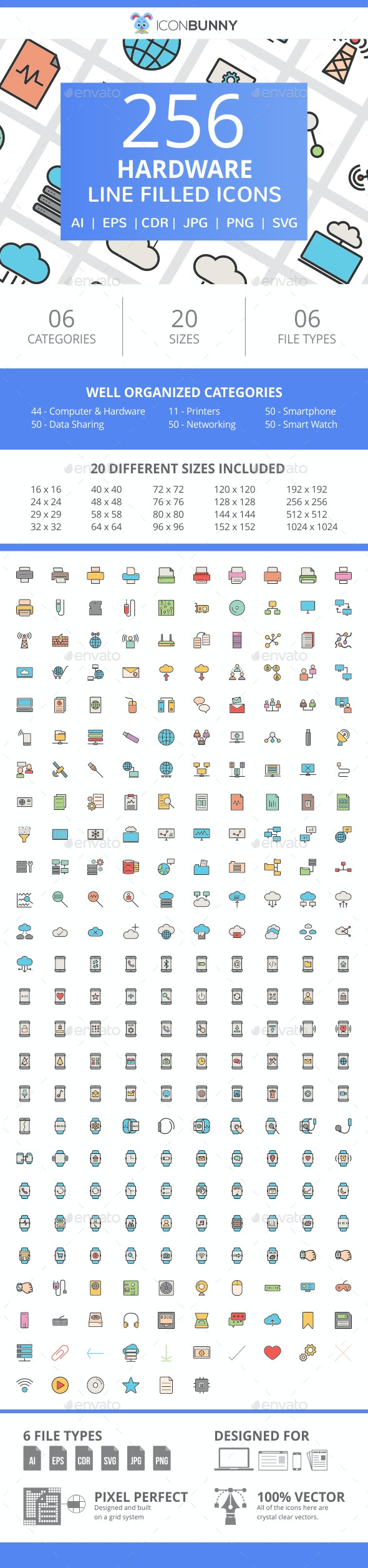 255 Hardware Filled Line Icons - Icons