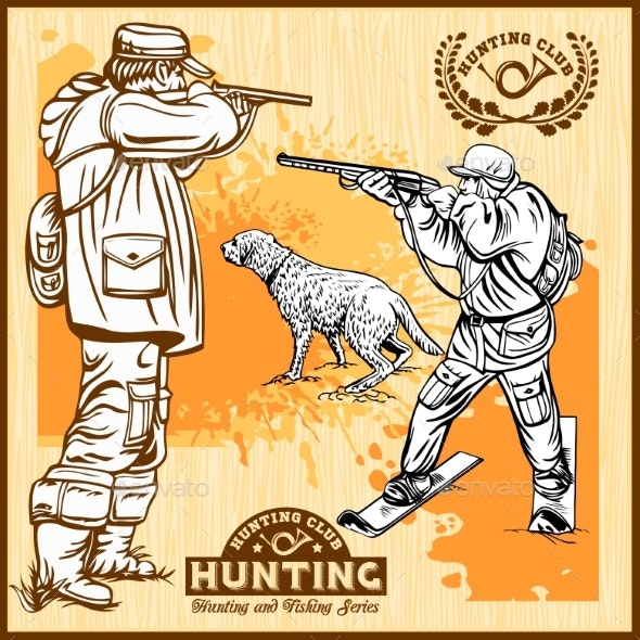 Hunters With Dogs - Retro Clipart Illustration - Animals Characters