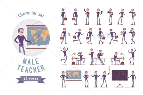 Male Teacher Ready-to-use Character Set - Miscellaneous Vectors