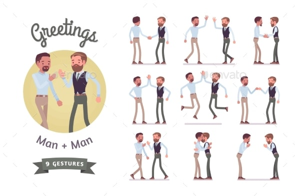Male Friends Greeting Set - Business Conceptual