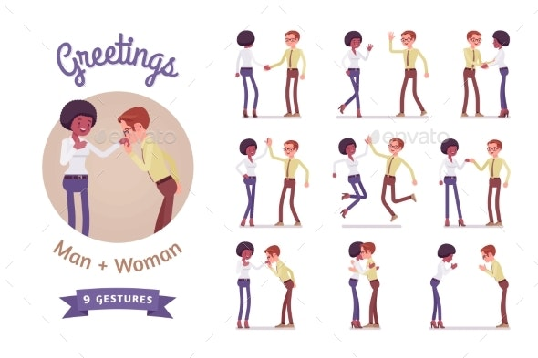 Male and Female Multicultural Greeting Set - Business Conceptual