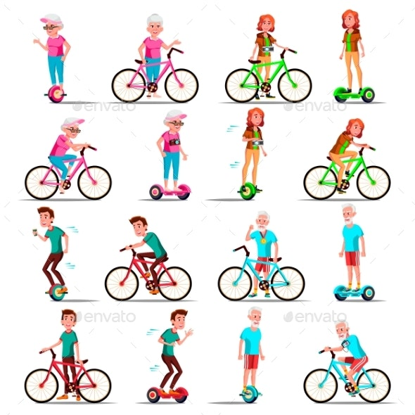 People Riding Hoverboard, Bicycle Vector. City - People Characters
