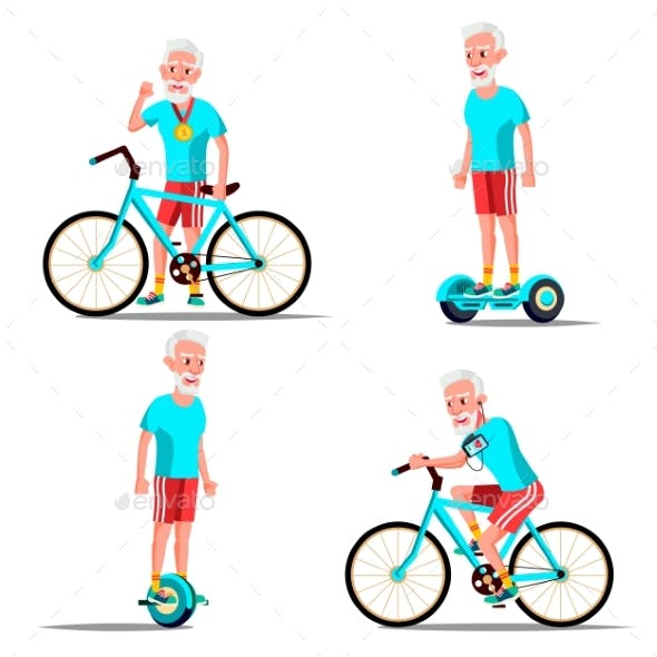 Old Man Riding Hoverboard, Bicycle Vector. City