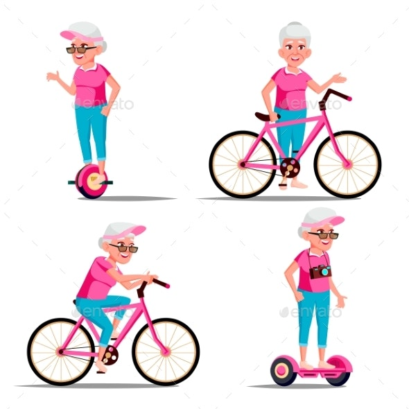 Old Woman Riding Hoverboard, Bicycle Vector. City - People Characters