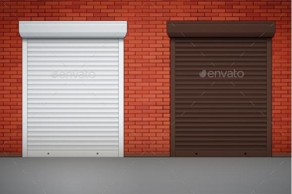 Set of Roller Shutters on Window - Miscellaneous Vectors