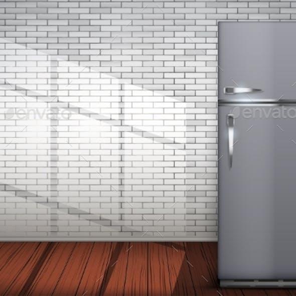 Laundry Room of Brick Wall and Fridge Freezer