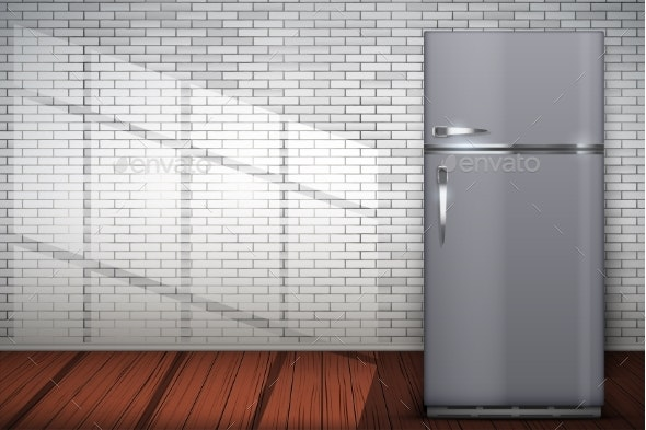 Laundry Room of Brick Wall and Fridge Freezer - Buildings Objects