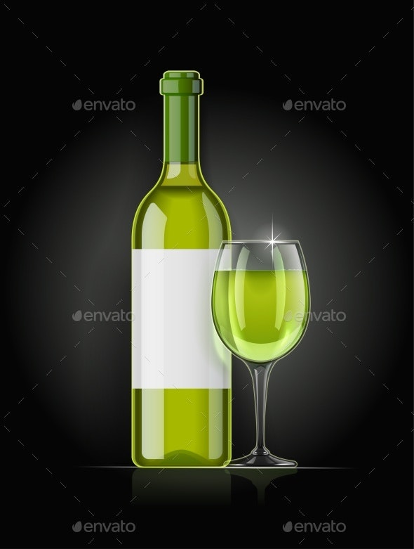 White Wine Bottle and Wineglass - Man-made Objects Objects