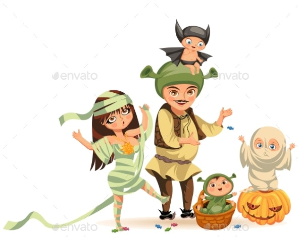 Cartoon Family Celebrating Halloween Flat Poster - People Characters