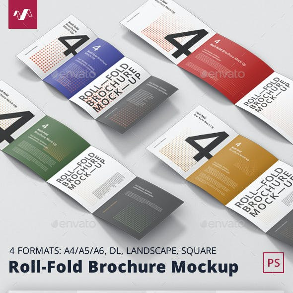 Roll-Fold Brochure Mockup Bundle