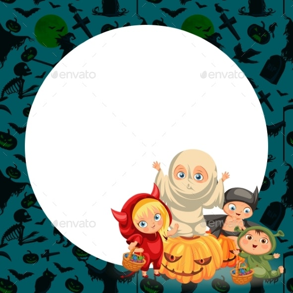 Cartoon Children in Mystery Costumes Flat Poster - Miscellaneous Vectors