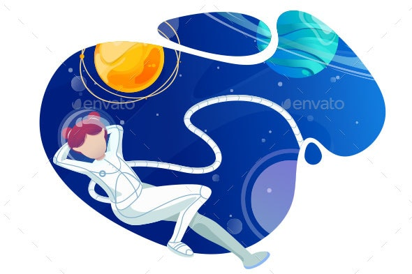 Woman Astronaut Relaxes in Space - Miscellaneous Vectors