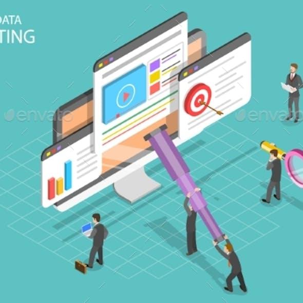 Visual Data Marketing Isometric Flat Vector
