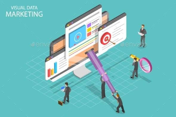 Visual Data Marketing Isometric Flat Vector - Web Technology