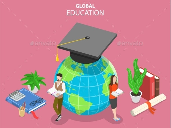Global Online Education Flat Isometric Vector - Miscellaneous Vectors