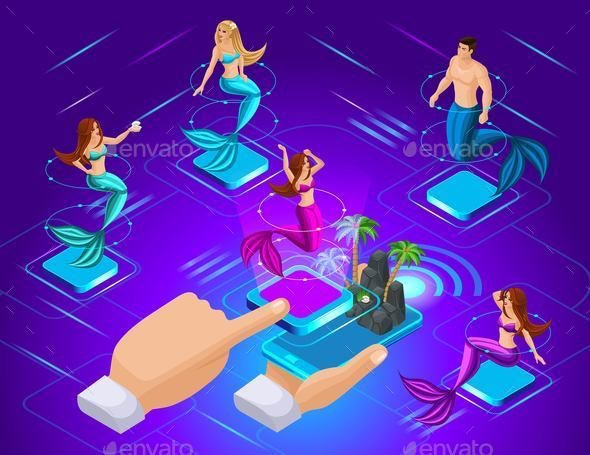 Isometric Avatars of Mermaids With Different Hairstyles in Different Poses - Miscellaneous Characters