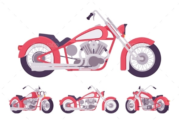 Chopper Custom Motorcycle Set in Bright Red - Miscellaneous Vectors