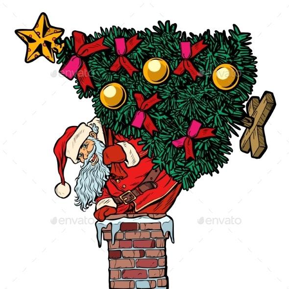 Santa Claus with a Christmas Tree Climbs the - Seasons/Holidays Conceptual