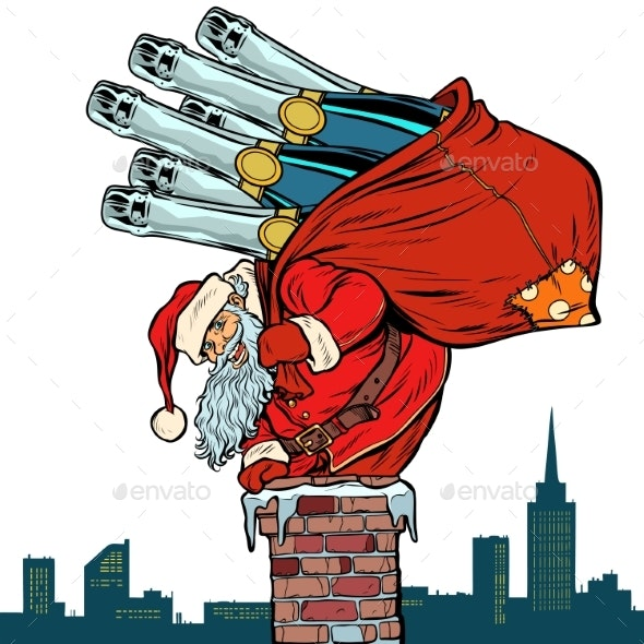 Santa Claus with Champagne Climbs the Chimney - Seasons/Holidays Conceptual