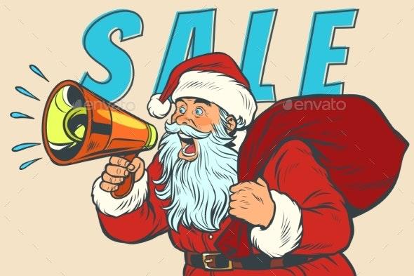 Christmas Sale Santa Claus with Megaphone - Seasons/Holidays Conceptual