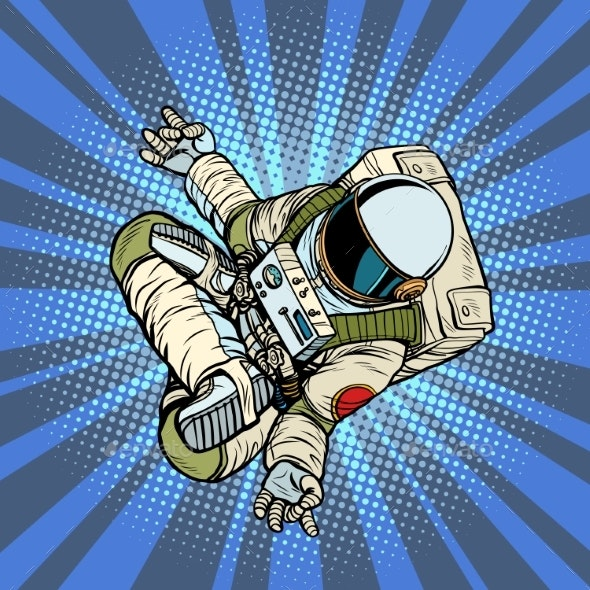 Astronaut the Yoga Lotus Position. Top View - People Characters