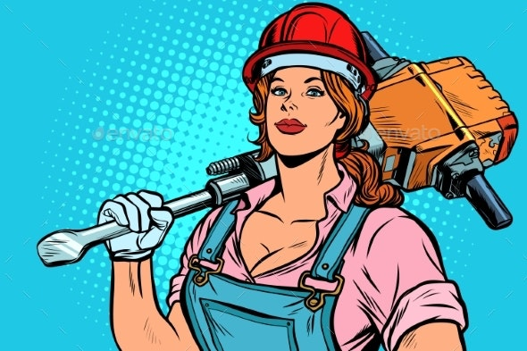 Pop Art Women Road Worker Builder with Jackhammer - People Characters