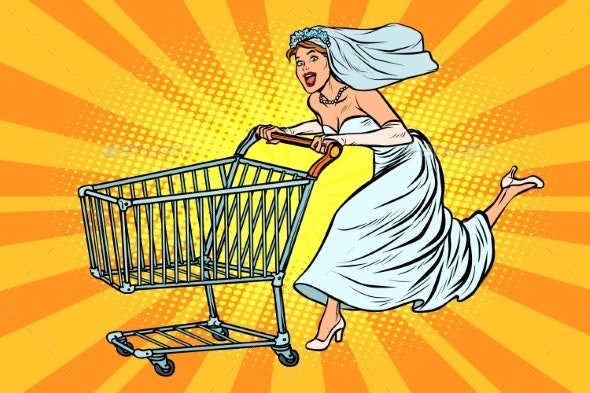 Pop Art Bride Runs for Wedding Shopping - People Characters
