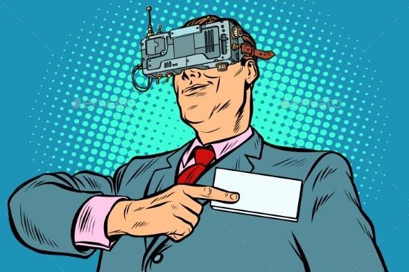 The Virtual Identity Concept. Businessman Online - Technology Conceptual