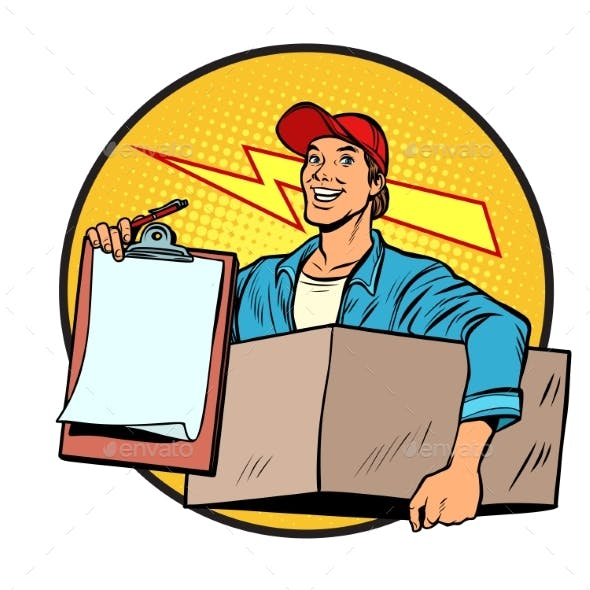 Courier. Delivery of Parcels and Mail. Postman.