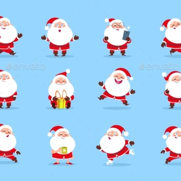 Santa Claus. Cartoon Christmas Fun Character Set