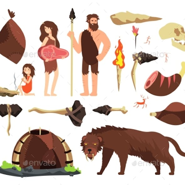 Stone Age Caveman. Hunting Neolithic People
