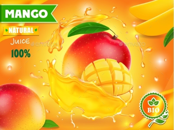 Mango Juice Advertising Package Design - Food Objects
