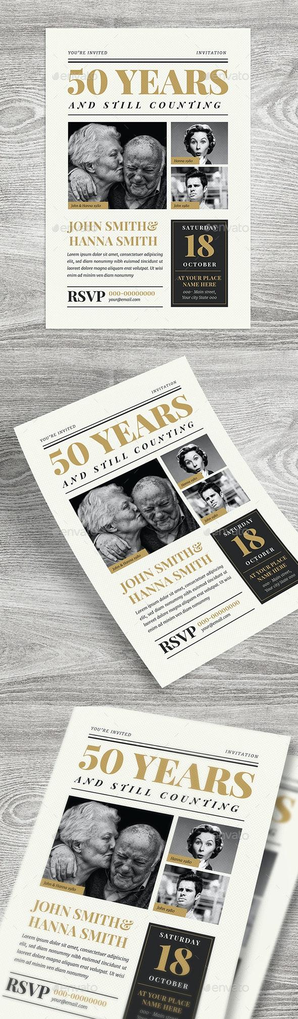 Newspaper Wedding Anniversary Invitation - Cards & Invites Print Templates