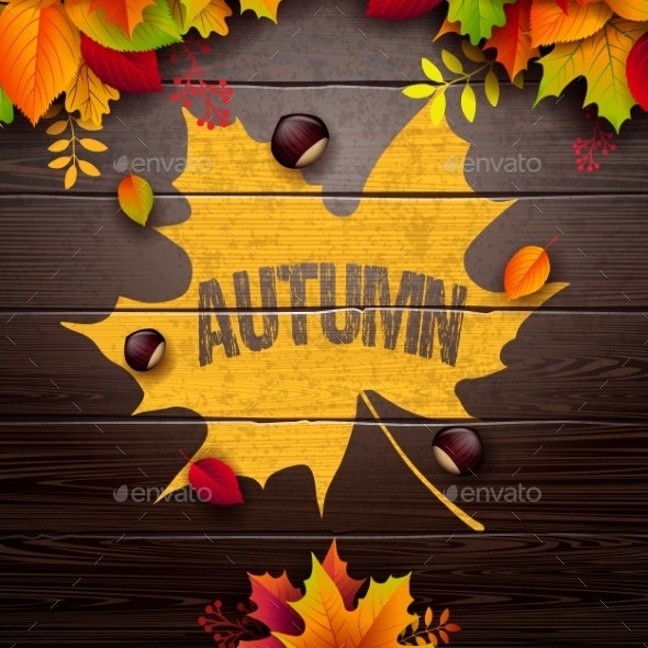 Autumn Illustration with Colorful Leaves - Seasons Nature