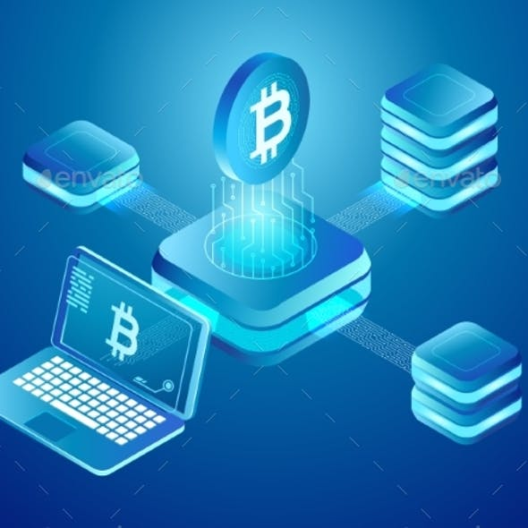 Blockchain Technology. Cryptocurrency Coins Mining