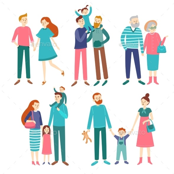 Family Couples. Father and Mother with Children - People Characters