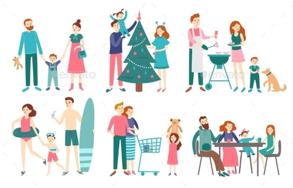 Flat Family People. Father, Mother and Kids - People Characters