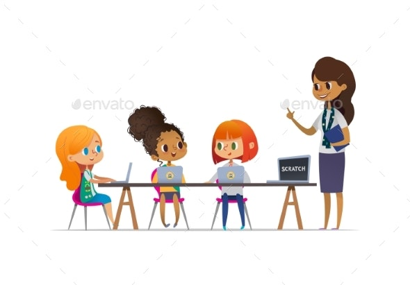 Happy Girl Scouts Sitting at Laptops and Learning - Miscellaneous Vectors