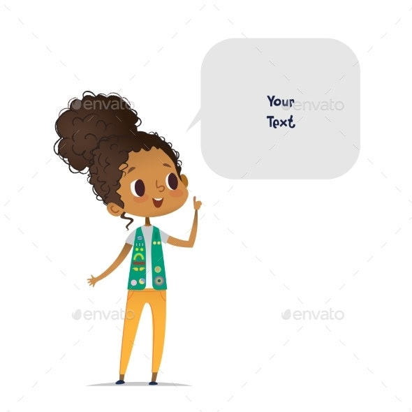 Young Smiling African American Girl Scout Dressed - People Characters