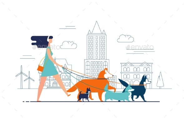 Young Girl Wearing Dress and Headphones Walks Dogs - Sports/Activity Conceptual