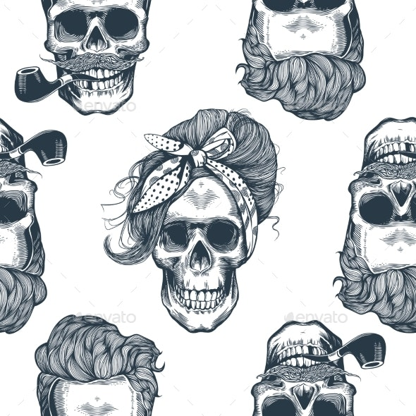 Seamless Pattern in Pop Art Style with Skeleton - Backgrounds Decorative