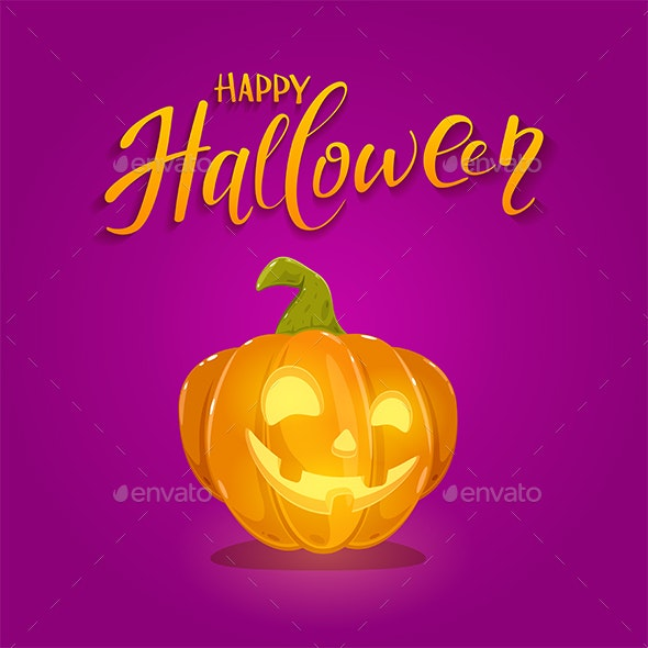 Happy Pumpkin on Purple Halloween Background - Halloween Seasons/Holidays