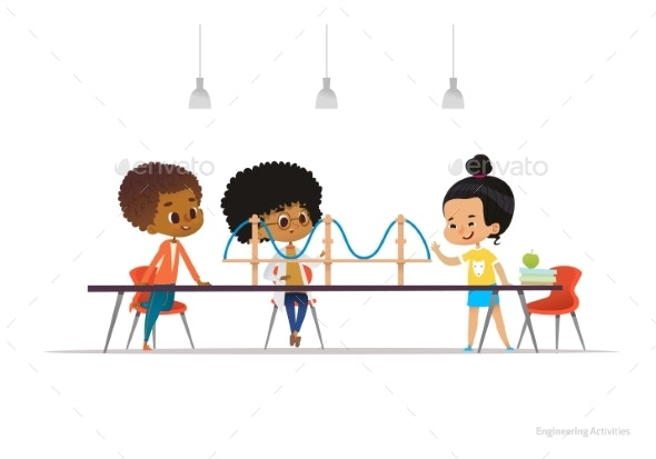 Multiracial Kids Standing and Sitting Around Table - Miscellaneous Vectors